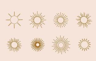 colección de diseño de línea con ilustración vectorial editable de sol para sitio web, pegatina, tatuaje, icono vector