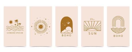 lindo fondo para redes sociales conjunto de historia con forma, sol, arco iris vector