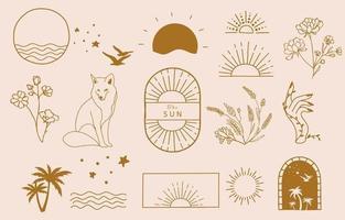 colección de diseño de línea con sol, mar, ola ilustración vectorial editable para sitio web, pegatina, tatuaje, icono vector