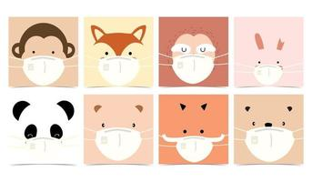 Collection of animal background set with mask vector