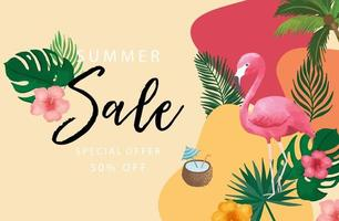 summer sale background set with flamingo,coconut tree.Editable vector illustration for invitation,postcard and website banner