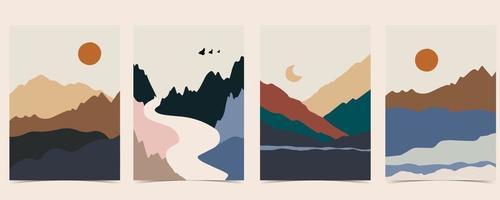 colección de fondo de paisaje de naturaleza con montaña vector