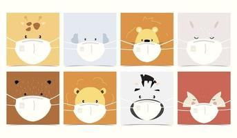 Set of cute animals with animal vector