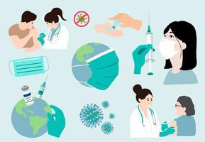 Covid pandemic collection with mask vector