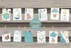 Cute animal calendar 2021 with bear vector