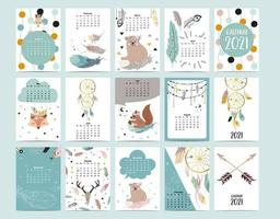 Cute animal calendar 2021 with bear, feather, dreamcatcher for children, kid, baby.Can be used for printable graphic vector