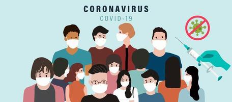 People with surgical face mask, vaccine background to prevent the spread of bacteria,coronavirus vector