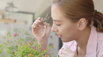 pequeña empresa asiática feliz floristería cuidando sus plantas frescas video