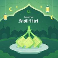 Ketupat on Aidil Fitri Background Concept vector