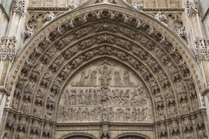 Detail of a door frame at cathedral of our lady in Antwerp Belgium photo