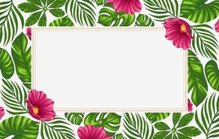 Tropical Leaves and Flowers Background Borders vector