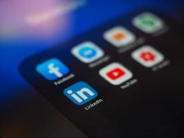 Bucharest, Romania 2019- Facebook app near social media applications photo
