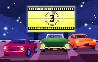 Drive in Movie Theater Concept vector