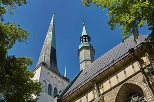 Downtown architecture of old town city of Tallinn in Estonia photo