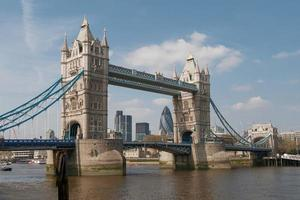 View of the Tower Bridge Over the Thames River in London UK photo