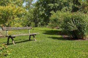 Banco de descanso en el jardín botánico de Kaisaniemi en Helsinki, Finlandia foto