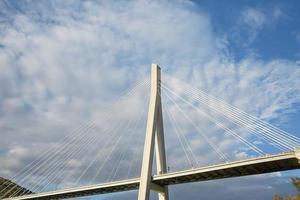 Detail of modern Franzo Tudjmans cable stayed bridge in Dubrovnik Croatia photo