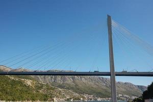 Modern Franzo Tudjmans cable stayed bridge in Dubrovnik Croatia photo