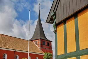 View of Svaneke Church on Island of Bornholm in Denmark photo