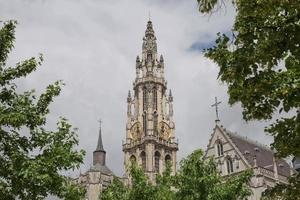 View of a cathedral of our lady in Antwerp Belgium photo