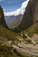 Serpentine Road for Crossing Andes Mountains between Peru and Bolivia photo