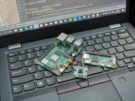 Galati, Romania 2020- Close-up of a Raspberry Pi 4 Model-B on a laptop keyboard photo
