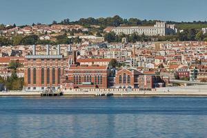 Cityline of Lisbon in Portugal over the Tagus river photo