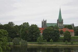The Nidaros Cathedral in the center of the city Trondheim in Norway photo