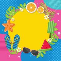 Colorful Background with Summer Elements vector