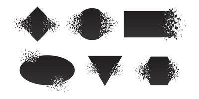 Shape shattered and explodes flat style design vector illustration set isolated on white background