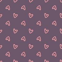 Pink hearts on purple background seamless pattern. design for Valentines Day. vector illustration