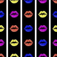 Lips seamless pattern. Red lips on a black and white striped background. Design for printing, textiles, wrappers, Valentines Day.Vector illustration vector