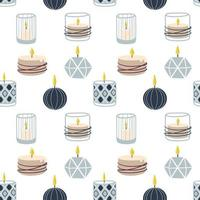 Scented burning candles seamless pattern.Design for printing, textiles, wrappers. Spa and aromatherapy Vector illustration