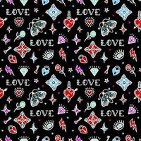 Old school tattoo seamless pattern with love symbols. Vector illustration. Design For Valentines Day, Stilts, Wrapping Paper, Packaging, Textiles