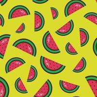 seamless pattern of watermelon slices on a yellow background. Bright watermelon pattern.Colorful fruit pattern. Vector illustration. Flat style. Vector illustratio