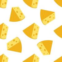 Cheese seamless pattern. Pieces of yellow cheese, isolated on a white background. Pieces of cheese of various shapes. Vector flat illustration