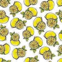 Seamless pattern with yellow lemons, whole and sliced on a black background.Background with citrus fruits.Botanical vector illustration in graphic style.Design for textiles, paper, printing