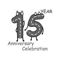 15 year anniversary number character vector template design illustration