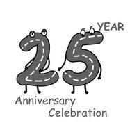 Ilustración de diseño de plantilla de vector de carácter de número de aniversario de 25 años