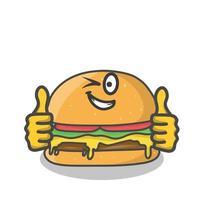 Cute burger character vector template design illustration