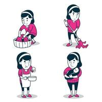 set of Female with housewife job vector