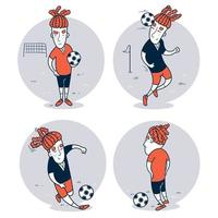 Set of hand drawn soccer player vector