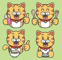 kawaii cute emoji sticker characters cartoon cats illustration vector