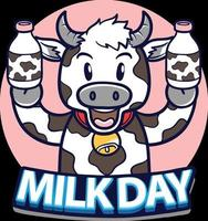 happy world milk day with cow holding milk bottle illustration vector