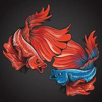 beautiful action halfmoon betta fish logo illustration vector