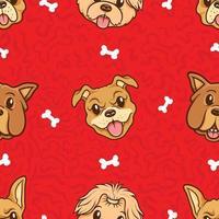kawaii cute head dog seamless pattern vector