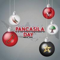 pancasila day with pancasila symbols handdrawn illustration vector