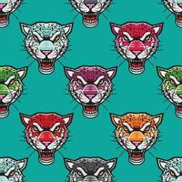 angry colorful cheetah seamless pattern illustration vector