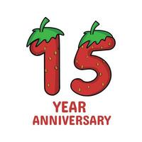 15 year anniversary celebration strawberry character vector template design illustration