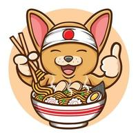 cute mouse eating yummy ramen noodle illustration vector